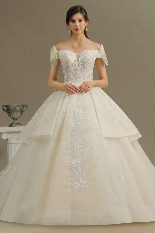 Off Sohulder Aline White Princess Bridal Gown Floor  Length Lace Wedding Dress