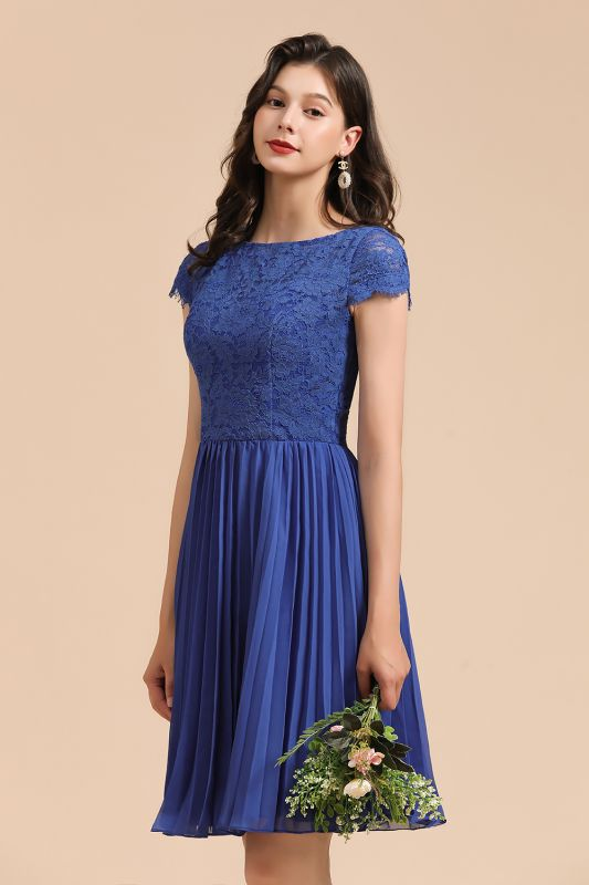 Stylish Floral Lace Short Sleeves Aline Party Dress Mini Daily Casual Dress