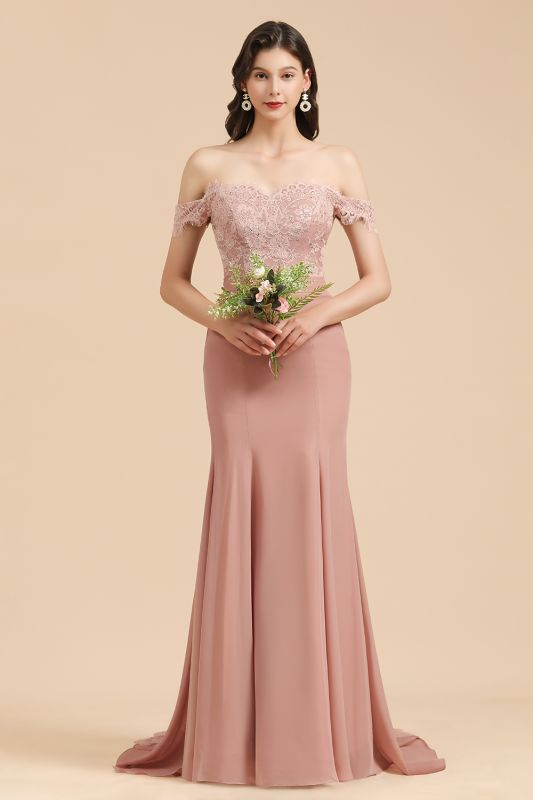 Off the Sholder Lace Appliques Mermaid Bridesmaid Dress Wedding Party Dress