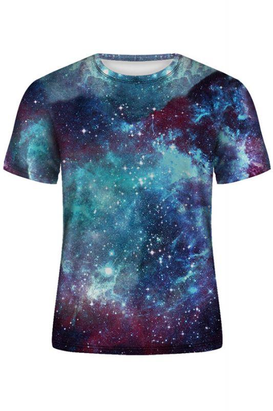 3D T-Shirt Galaxy Space Print T-Shirt O-Ausschnitt Kurzarm Herren T-Shirt Casual Poleras