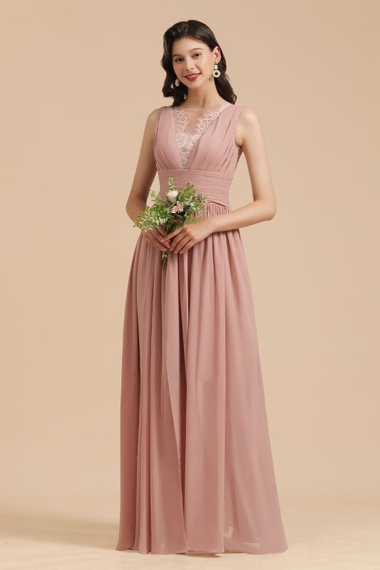 Elegant Sleeveless Ruffle Chiffon Aline Bridesmaid Dress Simple Wedding Dress Floor length