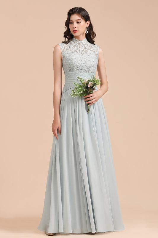 Halter Aline Floor Length Bridesmaid Dress Sleeveless Evening Party Dress
