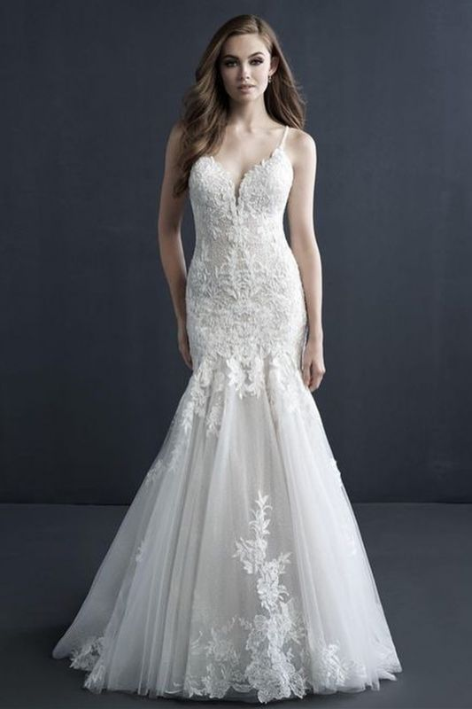 Stylish Sleeveless Tulle Lace Appliques Mermad Wedding Gown