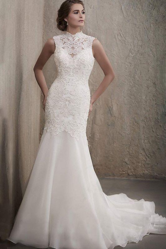 Vestido de novia de sirena de tul de encaje floral blanco sin mangas Vestido de novia de cuello redondo