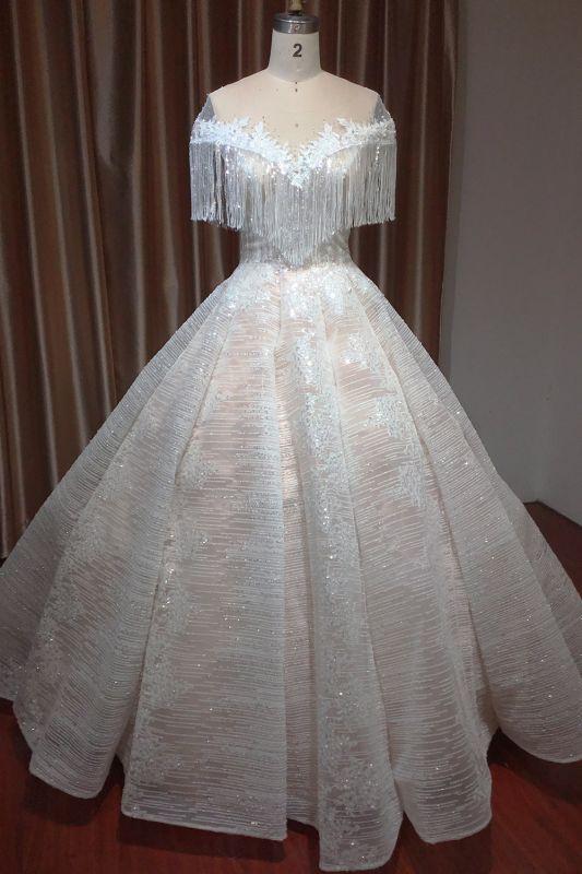 Romantic Tassels Off Shoulder Glitter Sequins Wedding Gown Garden Bridal Dress for Bride