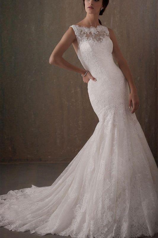Elegantes ärmelloses weißes Spitzenhochzeitskleid mit U-Ausschnitt und Meerjungfrau