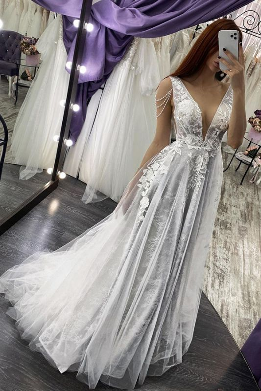 Charming Deep V-Neck Aline Wedding Dress Sleeveless Bridal Dress