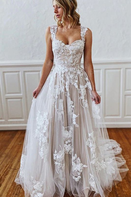 Charming Sleeveless 3D Floral Lace Aline Wedding Dress Sweetheart Simple Bridal Gown