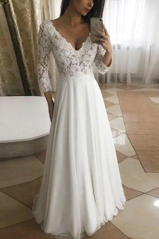 Elegantes weißes Tüll Spitze Aline Brautkleid Langarm V-Ausschnitt Brautkleid