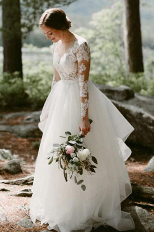 Vestido de novia simple con mangas largas de tul blanco Vestido hinchado hasta el suelo