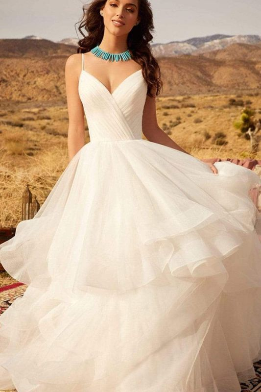 Sweetheart Spaghetti Straps Puffy Wedding Dress Sleeveless Simple Bridal Dress