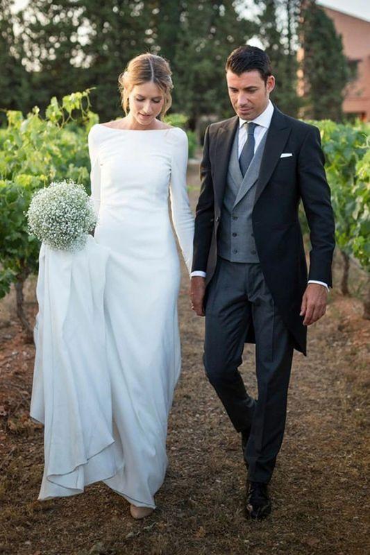 Bateau Long Sleeves White Simple Wedding Reception Dress
