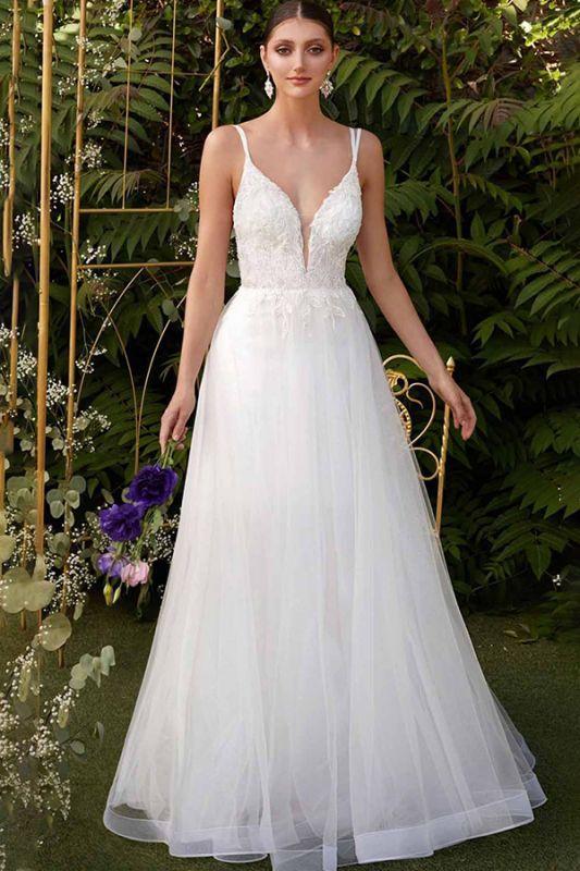 Elegant Spaghetti Straps V-Neck Tulle A-line Wedding Dress