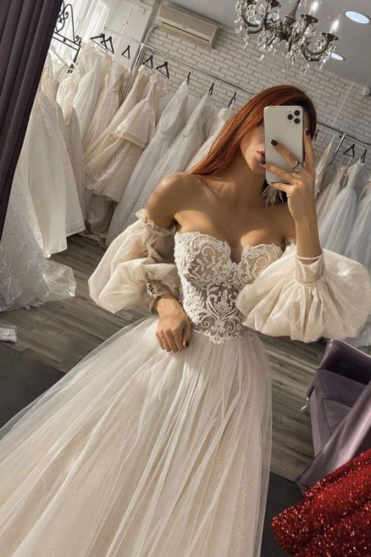 Gorgeous Sweetheart Tulle Lace Appliques A-line Wedding Dress Floor Length Bridal Dress