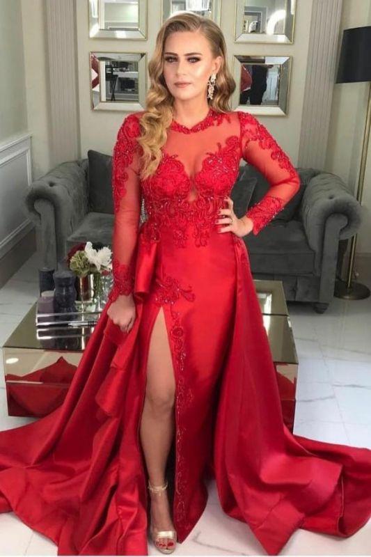 Elegant Red Long Sleeve Lace Appliques Evening Dress Side Slit Party Dress