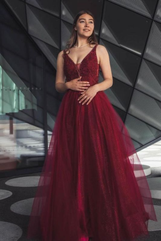 Stylish Burgundy Sleeves Aline Shinny Sequins Tulle Evening Party Gown