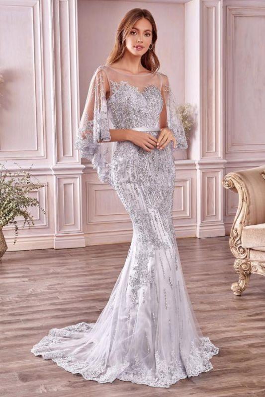 Stilvolle schlanke Meerjungfrau Hochzeit Party Kleid Pailletten mit Cape