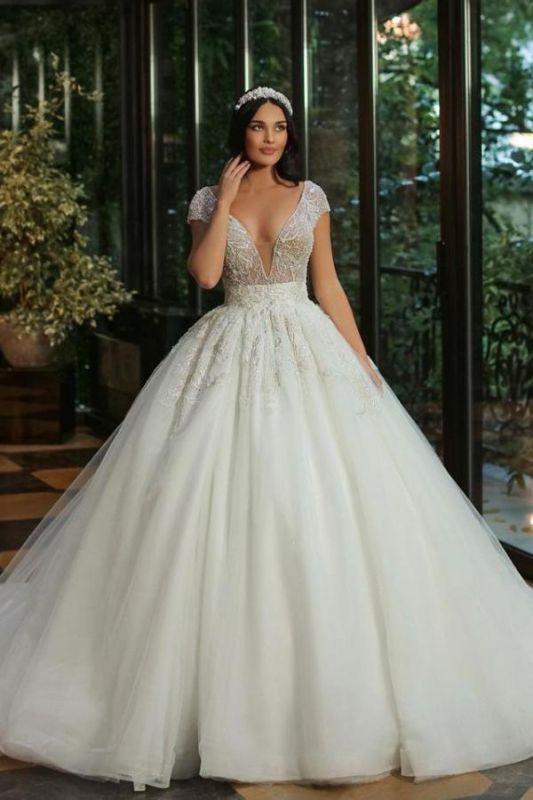 Gorgeous Cap Sleves Lentejuelas brillantes Vestido de novia Hasta el suelo Vestido de novia ALine