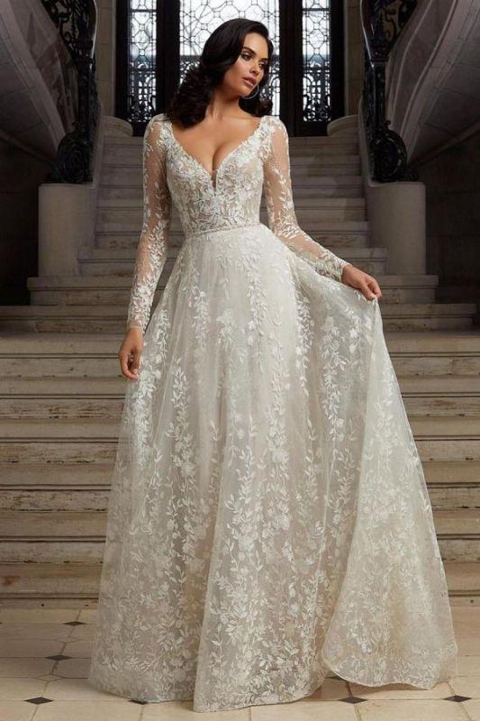 Elegante vestido de recepción de boda de jardín de encaje floral de manga larga