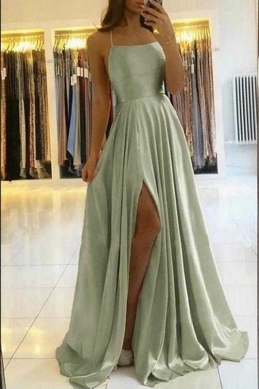 Charmantes Maxi-Abendkleid aus Satin mit Spaghetti-Trägern und ärmellosem Kleid mit Seitenschlitz