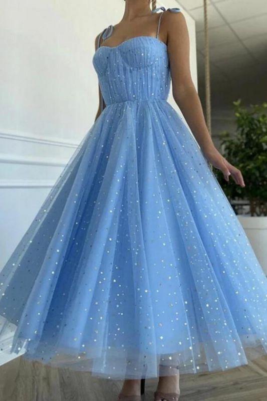 Jolie robe décontractée à bretelles spaghetti bleu ciel Robe formelle à paillettes mignonnes