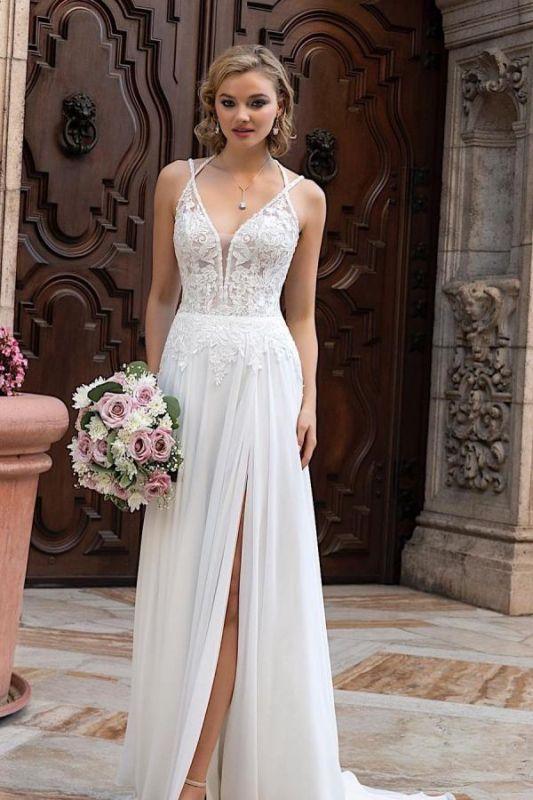 Simple Chiffon Wedding Dresses Spaghetti Straps  Lace Appliques Bridal Dress