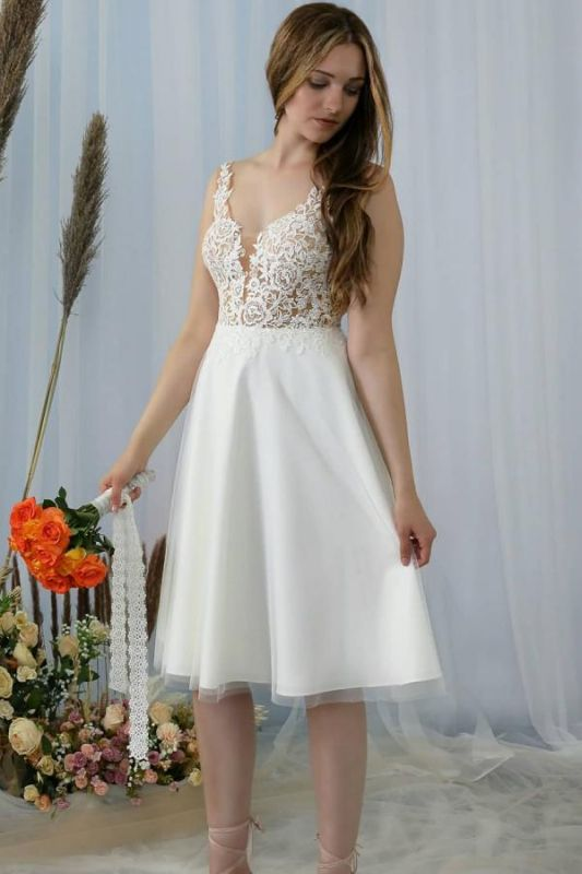 Stylish Sleeveless Lace Aline Short Homecoming Dress V-Neck Formal Dress