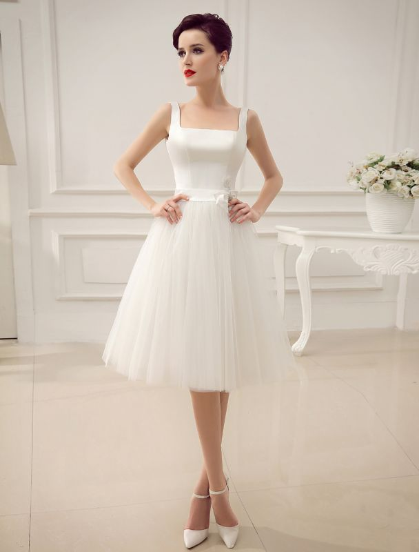 Simple Wedding Dresses Satin Square Neck Applique Short Bridal Dress With Beading Bow Sash Exclusive
