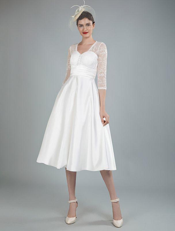 Kurze Brautkleider V-Ausschnitt 3/4 Ärmel A-Linie Tee-Länge Traditionelle Brautkleider