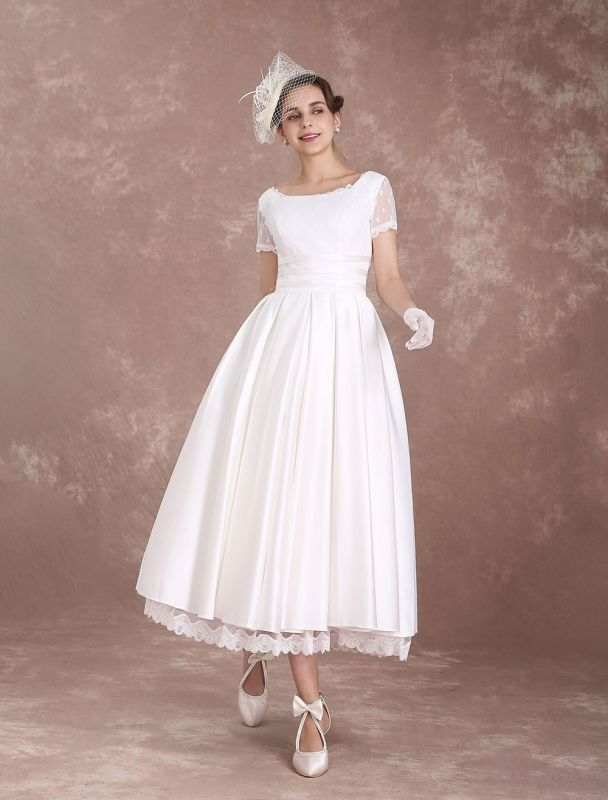 Vintage Wedding Dress Short Sleeve 1950'S Bridal Dress Backless Polka Dot Lace Trim Ivory Wedding Reception Dress Exclusive