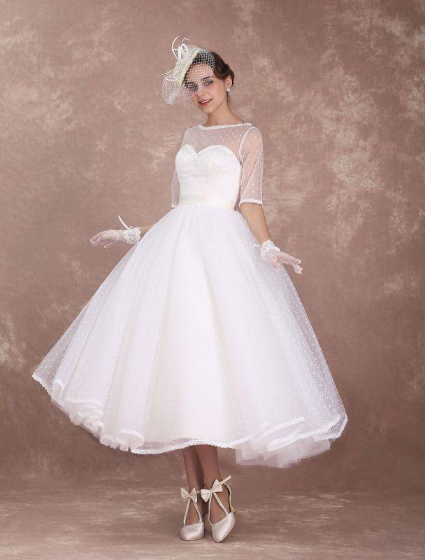 Vintage Brautkleid 50er Jahre kurzes Brautkleid Elfenbein rückenfrei Polka Dot halbe Ärmel Schatz Schleife Schärpe Weddig Empfangskleid exklusiv