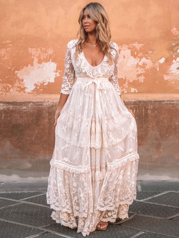 Boho Wedding Dress Suit 2021 V Neck Floor Length Lace Multilayer Bridal Gown Dress And Outfit