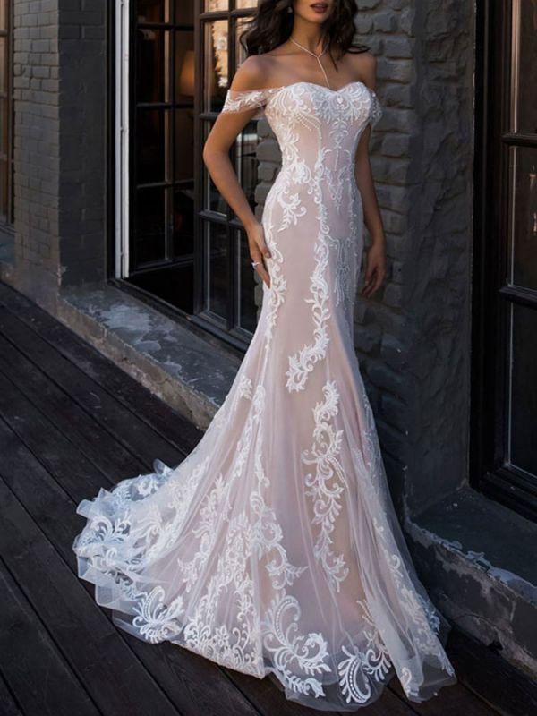 Vestidos de novia boho 2021 Sirena fuera del hombro Vestido de novia de manga corta de encaje personalizado hasta el suelo con tren de barrido