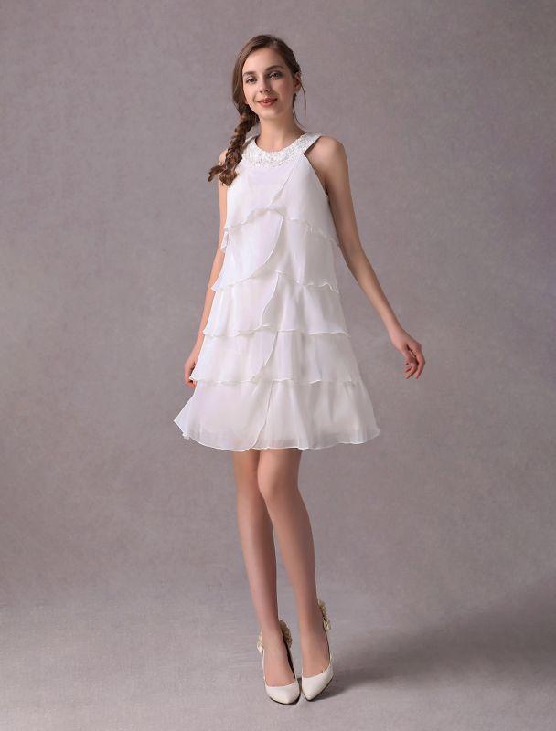 Einfache Brautkleider Elfenbein Chiffon Cocktailpartykleid Perlen Tiered A Line Halfter Kurzes Brautkleid Exklusiv