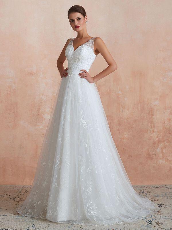 Wedding Dress 2021 A Line V Neck Sleeveless Floor Length Bridal Gowns With Train