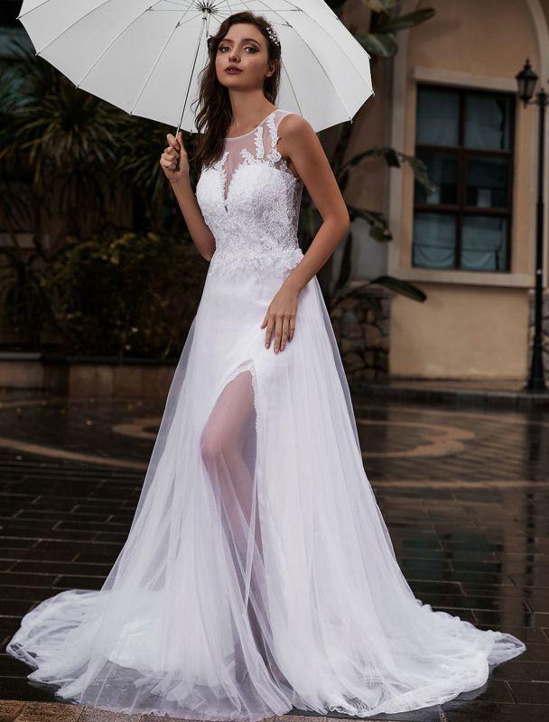 Anpassen-Hochzeitskleid-Spitze-Tüll-A-Linie-Juwel-Ausschnitt-Ärmellos-Natürliche-Taille-Mit-Zug-Brautkleider