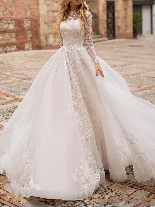 Weißes Brautkleid A-Linie Illusion-Ausschnitt mit langen Ärmeln Applikationen mit Kapelle-Schleppe Brautkleider