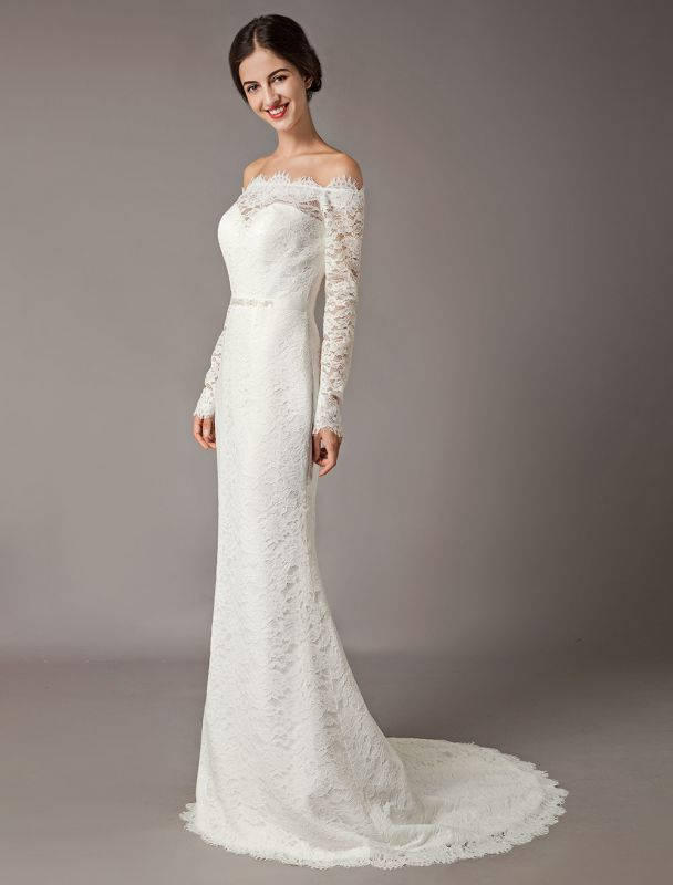 Lace Wedding Dresses Off The Shoulder Long Sleeve Beaded Sash Bridal Gowns With Train