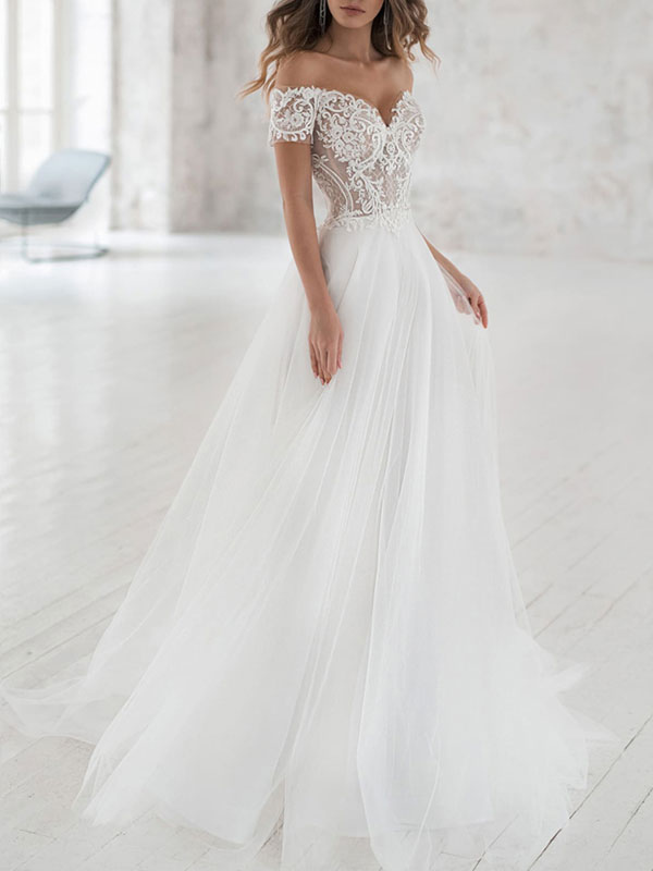 Simple Wedding Dress Tulle Off The Shoulder Short Sleeves Lace A Line Bridal Gowns