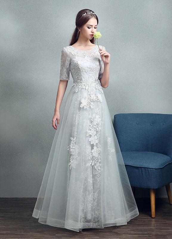 Robes de mariée d'été 2021 dentelle grise appliques Maxi robe de mariée dos nu demi-manches étage longueur robe de mariée