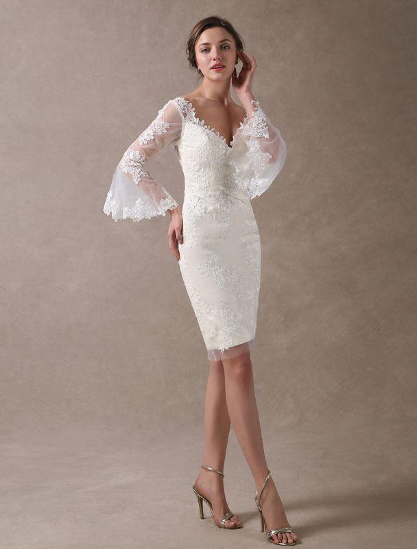 Boho Wedding Dresses Short Sheath Beach Bridal Dress Bell Sleeve Lace Applique V Neck Knee Length Summer Wedding Gowns Exclusive