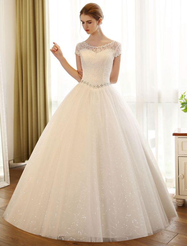 Prinzessin Ballkleid Brautkleider Spitze Pailletten Brautkleid Elfenbein Perlen Schärpe Backless Brautkleider