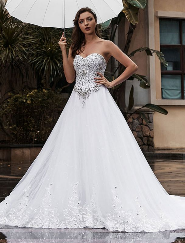 Customize Wedding Dress A-Line Sweetheart Neck Sleeveless Natural Waist With Train Bridal Dresses