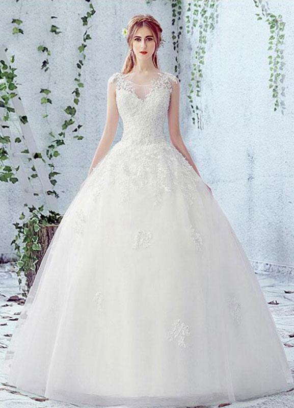 Vestido de novia de encaje Escote redondo Sin mangas Satén Red Vestido de novia con cordones y cuentas