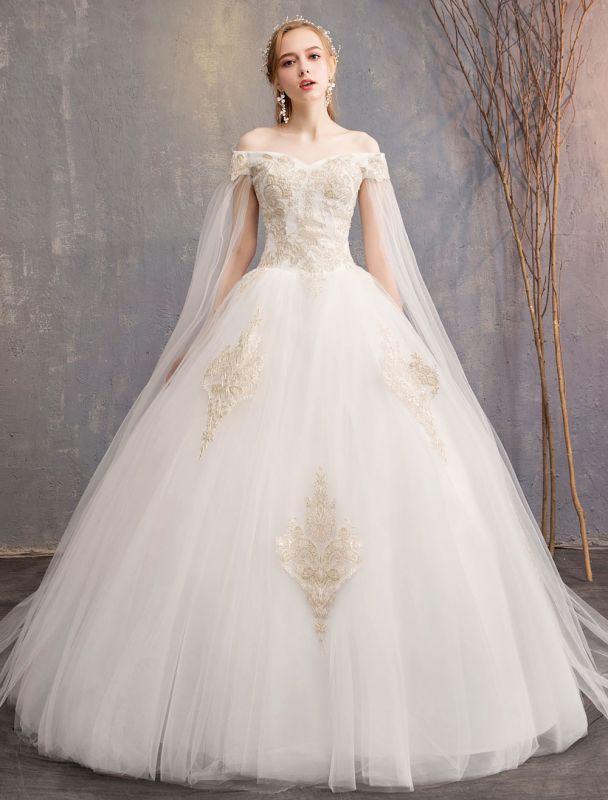 Brautkleider-Tüll-Off-The-Shoulder-Kurzarm-Spitze-Applikation-Prinzessin-Brautkleid