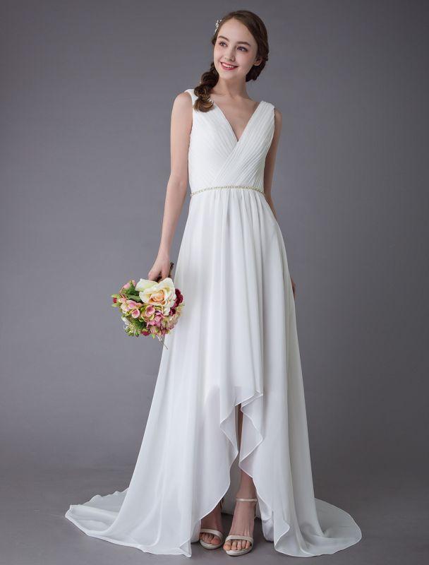 Beach Wedding Dresses Chiffon V Neck High Low Sash Summer Bridal Dress Exclusive