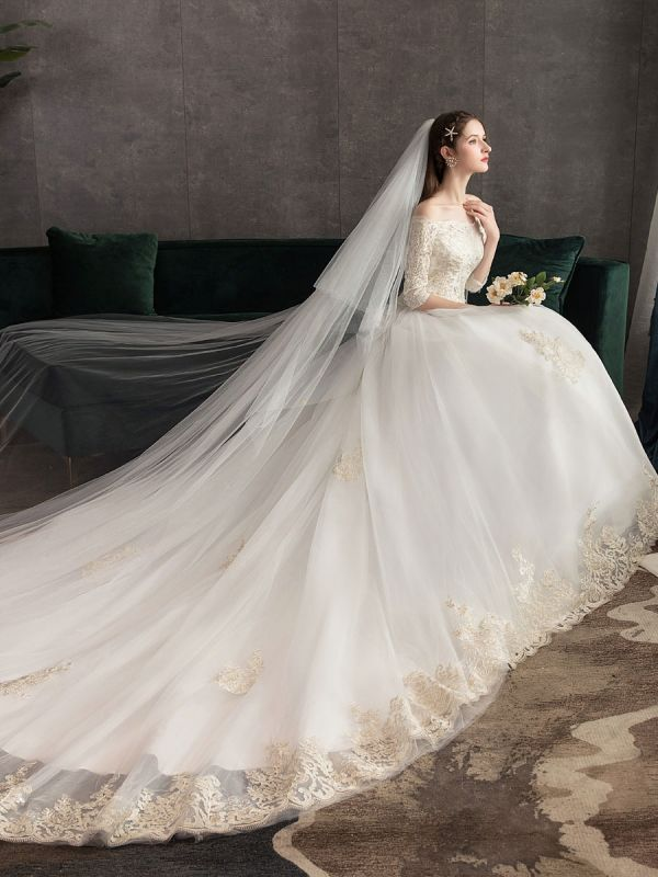 Princess-Wedding-Dresses-Ivory-Lace-Applique-Off-The-Shoulder-Half-Sleeve-Bridal-Gown-With-Train