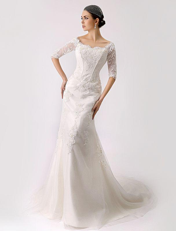 2021 Vintage inspiré de l'épaule robe de mariée en dentelle sirène exclusive
