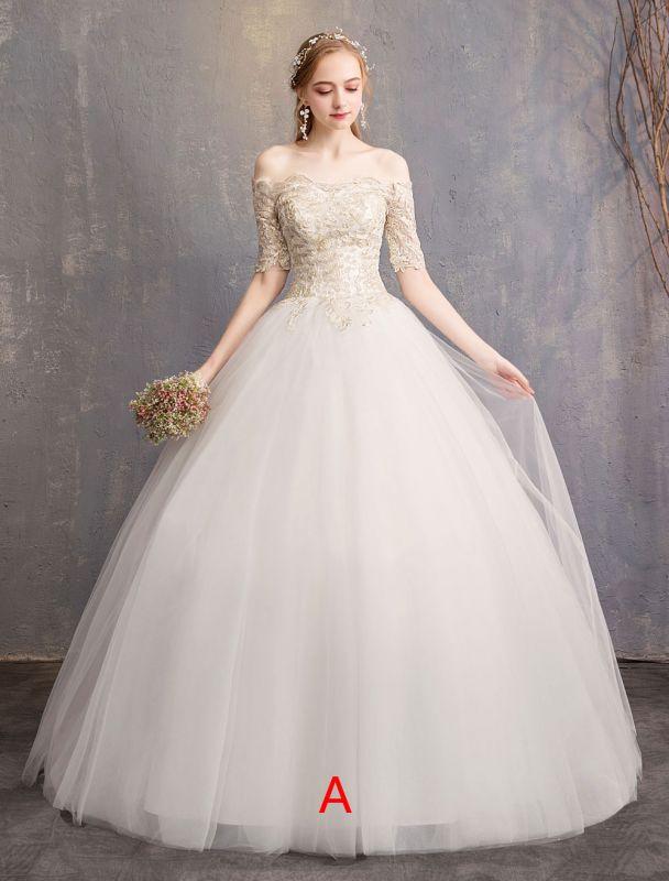 Tulle Wedding Dress Off The Shoulder Half Sleeve Princess Bridal Gown