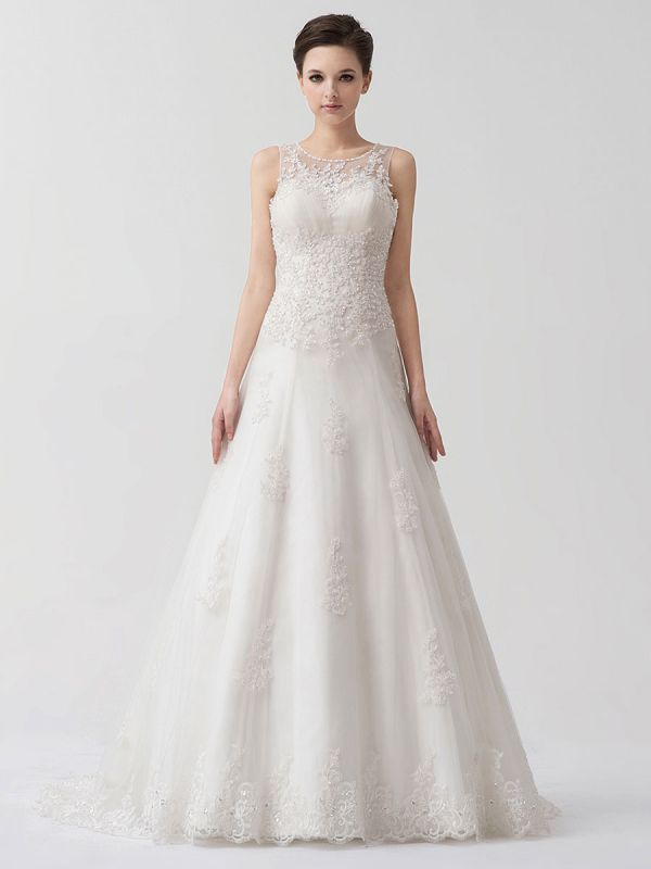 Sweep Ivory Lace Sweetheart A-Line Brides Wedding Dress With Adjustable Strap